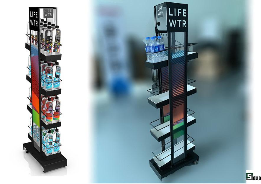 Life water bottle display rack stand